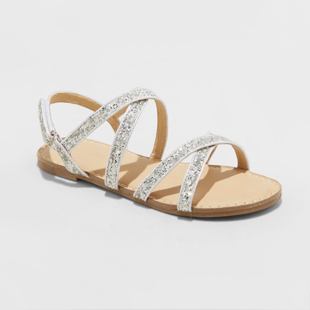 Girls' Nia Glitter Strappy Sandals - Cat & Jack Silver 2