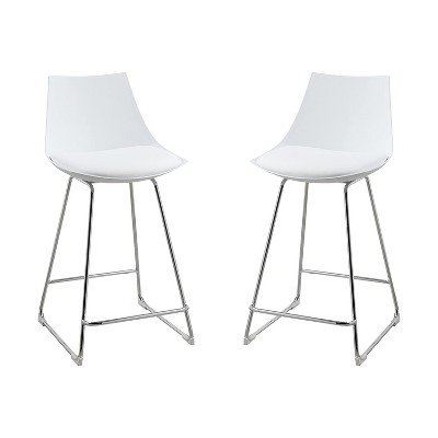 Wallace & Bay 24 Inch Neo White Plastic Armless Dining Room Chair Bar Stool with Cushioned Seat and Chrome Plated Steel Legs (2 Pack)
