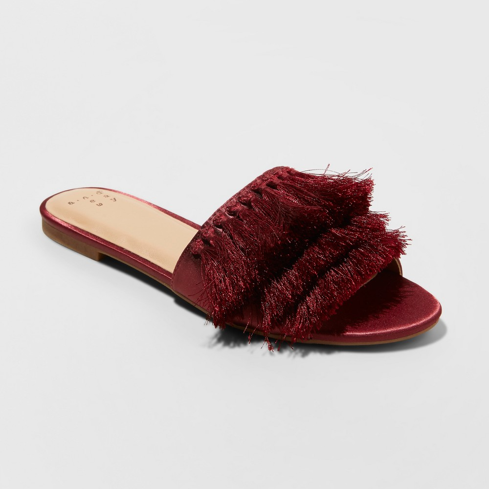 Women's Benetta Tassle Slide Sandals - A New Day Burgundy (Red) 8