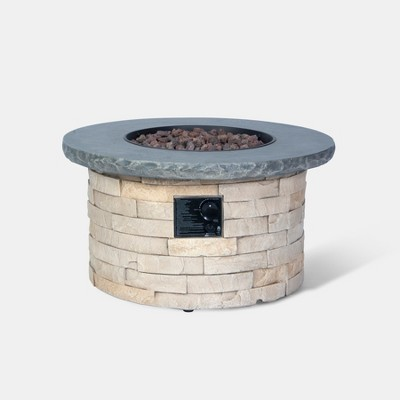 Chisholm 32  Round Stone Fire Table - Natural - Threshold™