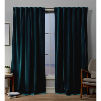 Velvet Back Tab Light Filtering Window Curtain Panels - Exclusive Home