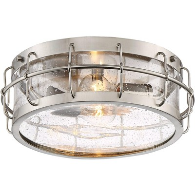 "Possini Euro Design Industrial Ceiling Light Flush Mount Fixture Satin Nickel 13 1/4"" Wide 2-Light Clear Seeded Glass Drum Kitchen"