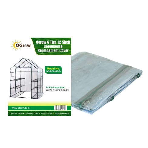 6 Tier 12 Shelf Greenhouse Replacement Cover Clear - OGrow - image 1 of 4