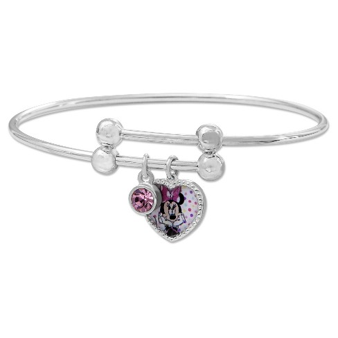 Disney Silver Plated Kids Minnie Mouse Heart Charm Bangle - image 1 of 1