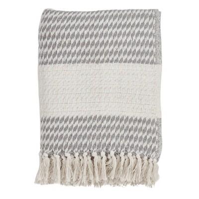 """50""""x60"""" Diamond Weave Throw Blanket Gray - Saro Lifestyle"""