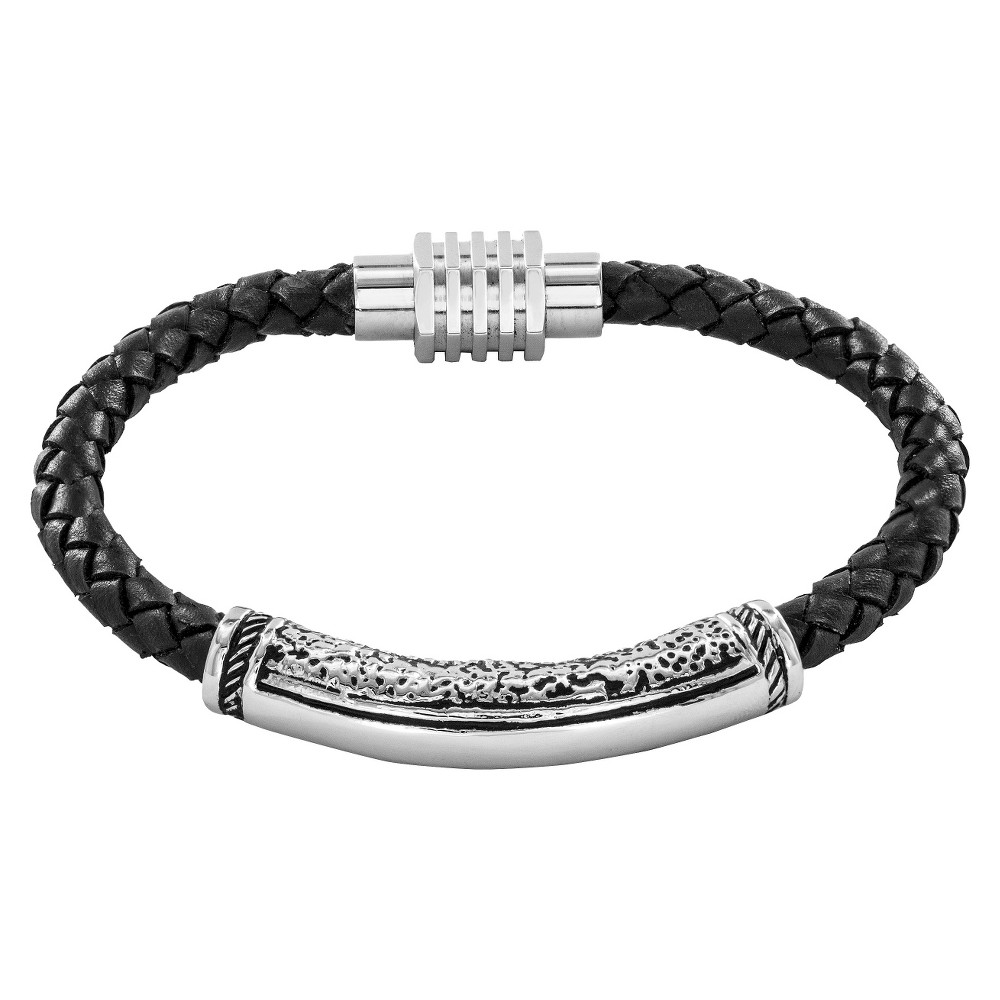 Crucible Men's Braided Leather and Stainless Steel Bracelet - Black, Black/Silver