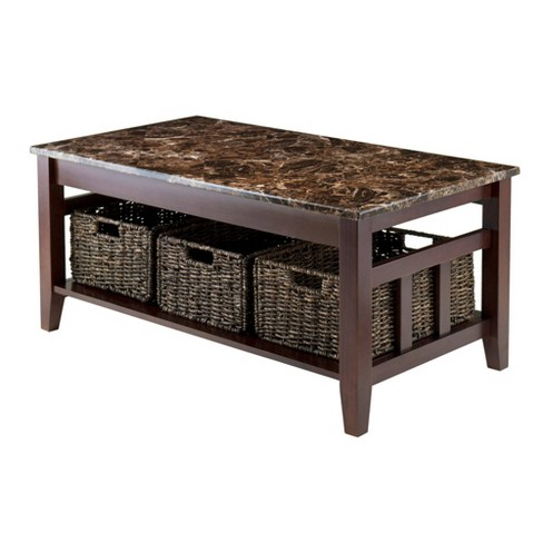 Zoey Coffee Table Faux Marble Top With Baskets Walnut Chocolate Winsome