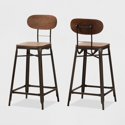 Set of 2 Varek Bamboo and Rust Finished Steel Stackable Counter Height Barstools Brown - Baxton Studio