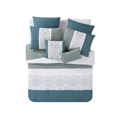 8pc Queen Sola Comforter Set Blue - VCNY Home
