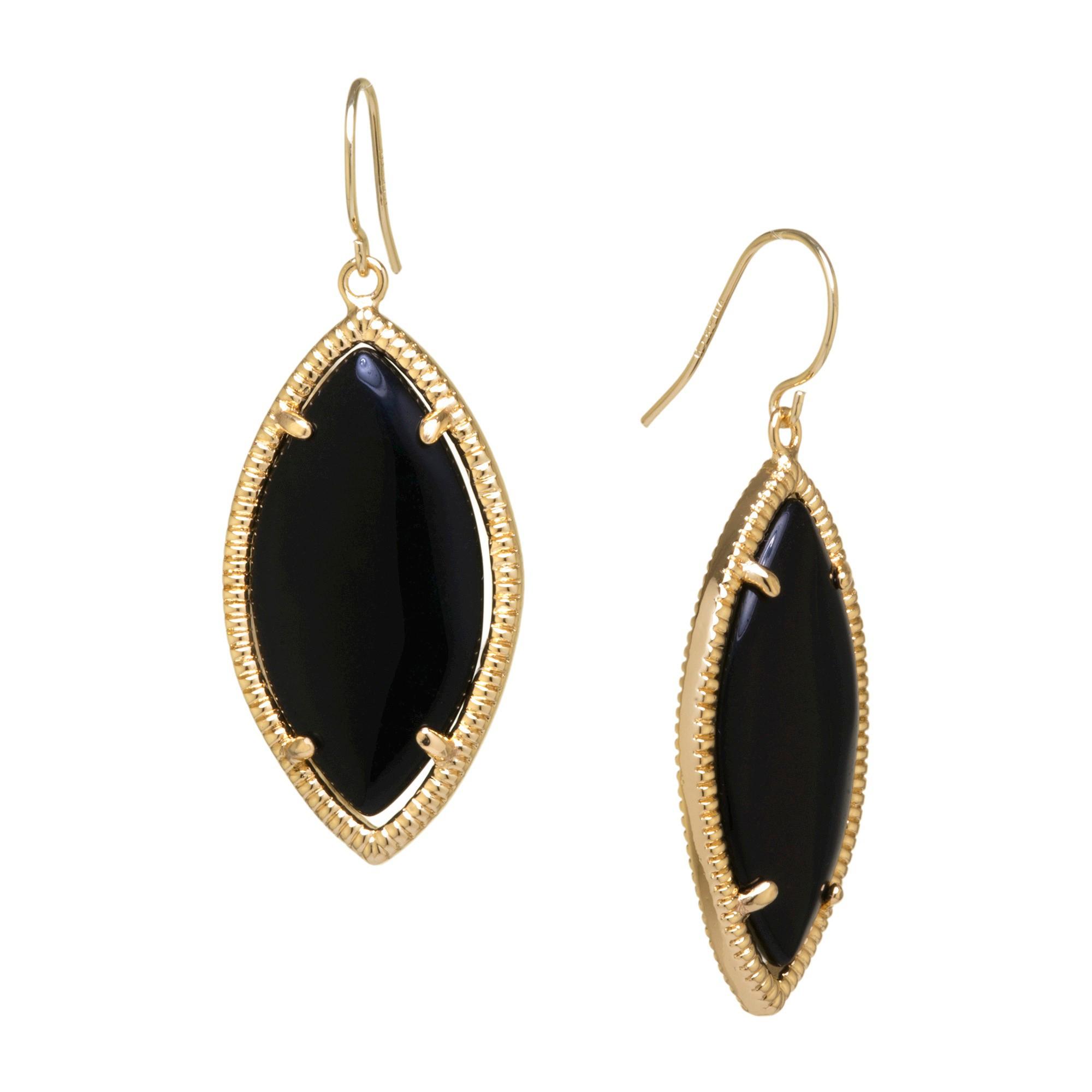 Gold Plated Black Drop Earrings - Gold/Black, Size: L: 47mm x W: 18mm