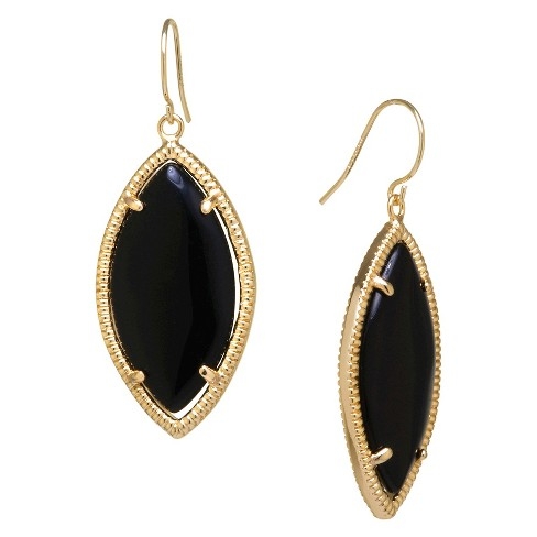 Gold Plated Black Drop Earrings - Gold/Black - image 1 of 1