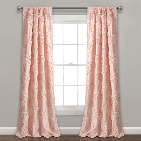 Ivory Lush Decor Nova Ruffle Window Curtain Panel Pair 84 x 42