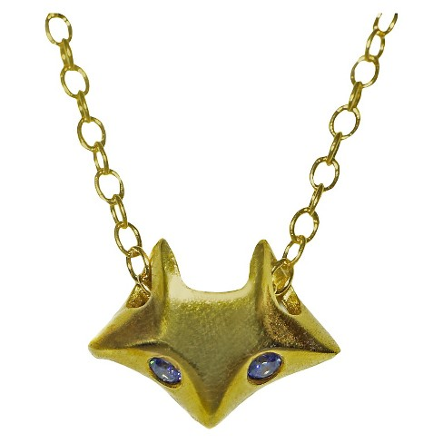Michelle Chang Small Fox Necklace Gold Plate with Blue CZ and Gold Filled chain - image 1 of 2