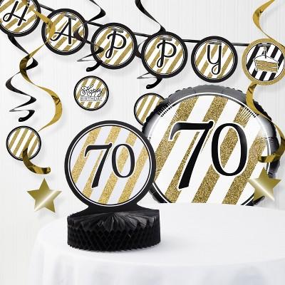 70th Birthday Party Decorations Kit Black/Gold