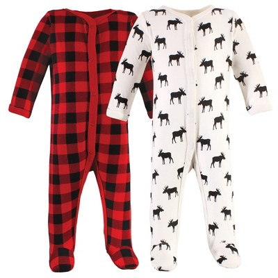 Hudson Baby Infant Boy Cotton Snap Sleep and Play 2pk, Plaid Moose
