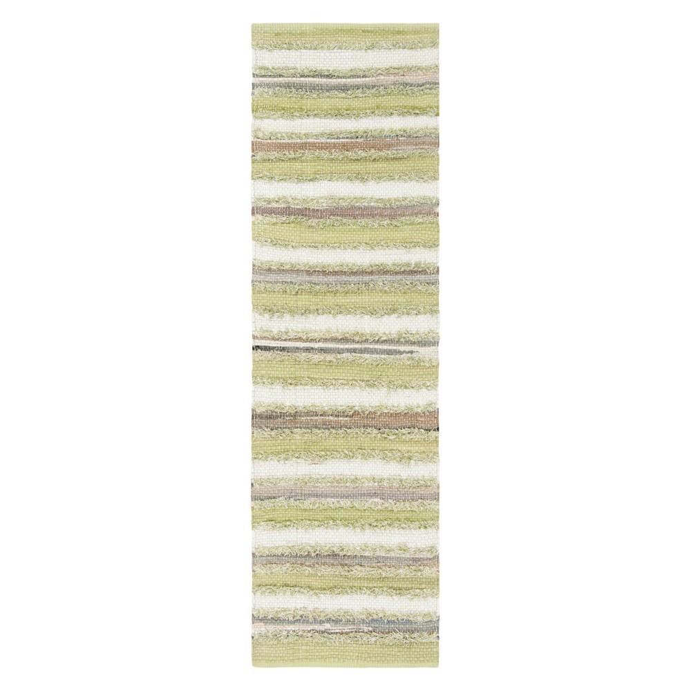 22X8 Stripe Woven Runner Green - Safavieh Promos