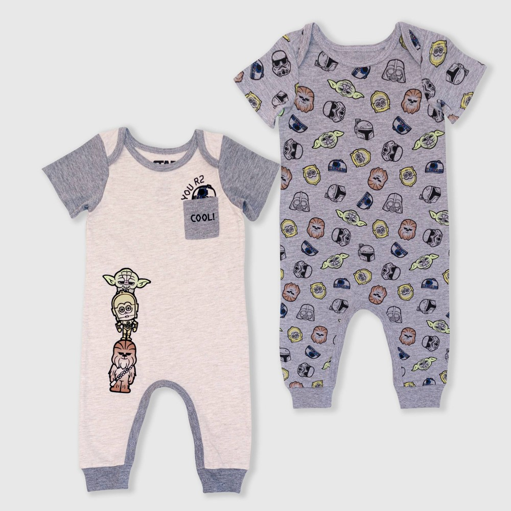 Image of Baby Boys' 2pk Star Wars Rompers - Gray 0-3M, Boy's