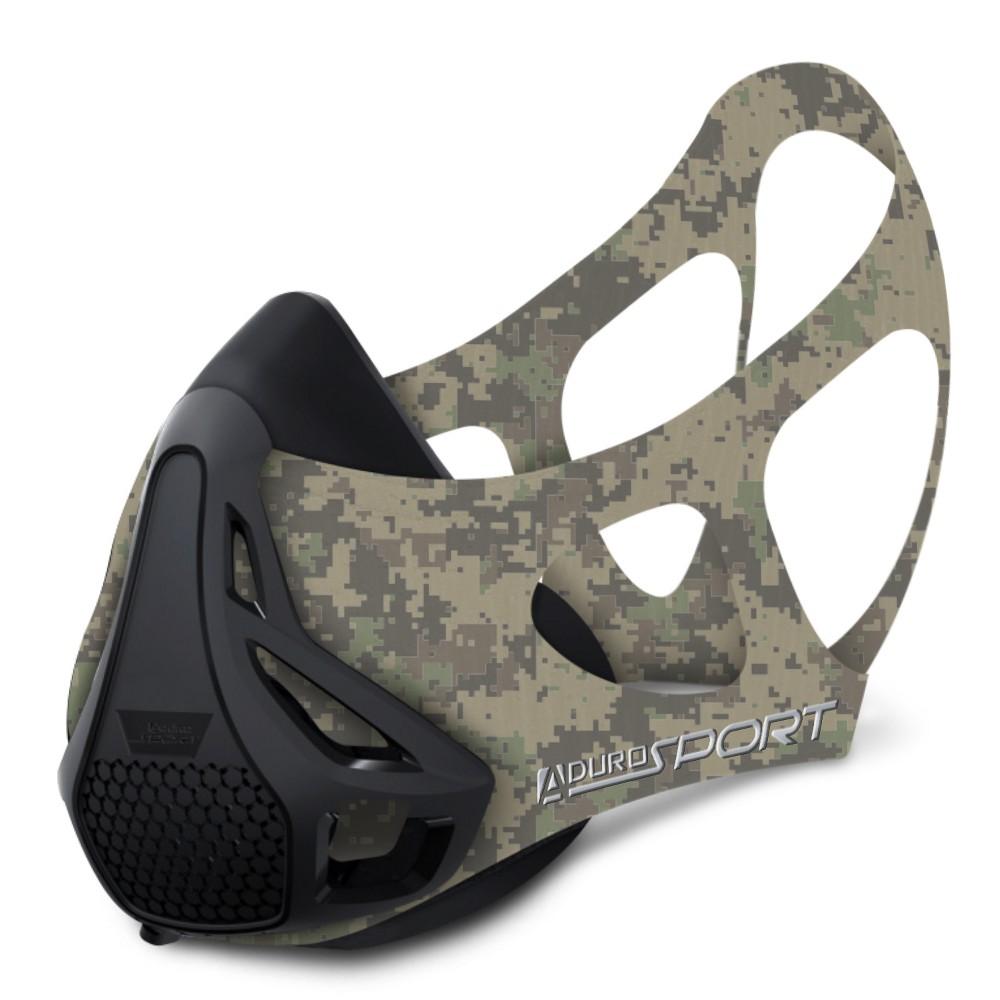 Image of Aduro Sport Peak Resistance Workout Training Mask - Digital Camo (Green)