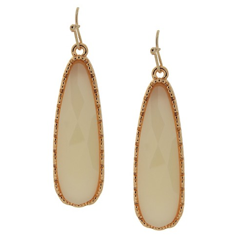 Women's Drop Earring with Stones - Gold and White - image 1 of 1