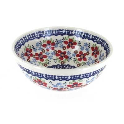 Blue Rose Polish Pottery Red Poppy Cereal/Soup Bowl