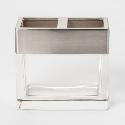 Rectangle Glass With Metal Toothbrush Holder Clear - Project 62™
