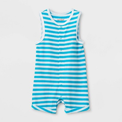 Baby Boys' Striped Snap Front Tank Romper - Cat & Jack™ Blue 6-9M