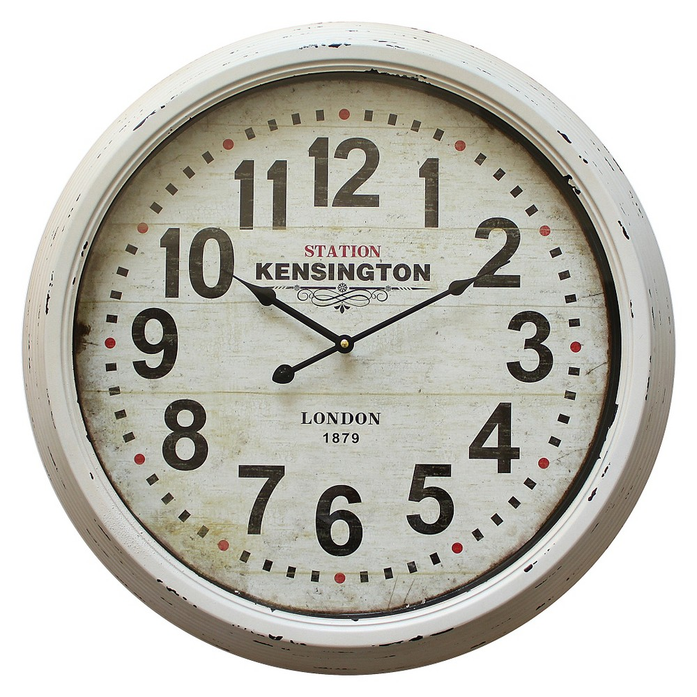 "Image of ""23"""" Round Wall Clock Distressed White - Yosemite Home Decor"""