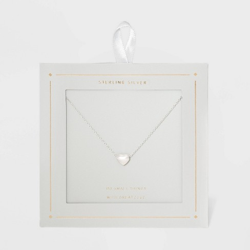 Sterling Silver Puff Heart Necklace - Silver - image 1 of 3