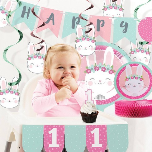 1st Birthday Bunny Print Party Decoration Kit - image 1 of 4