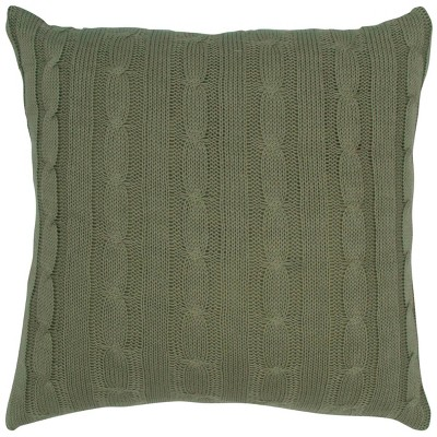 """18""""x18"""" Sweater Knit Throw Pillow Olive - Rizzy Home"""