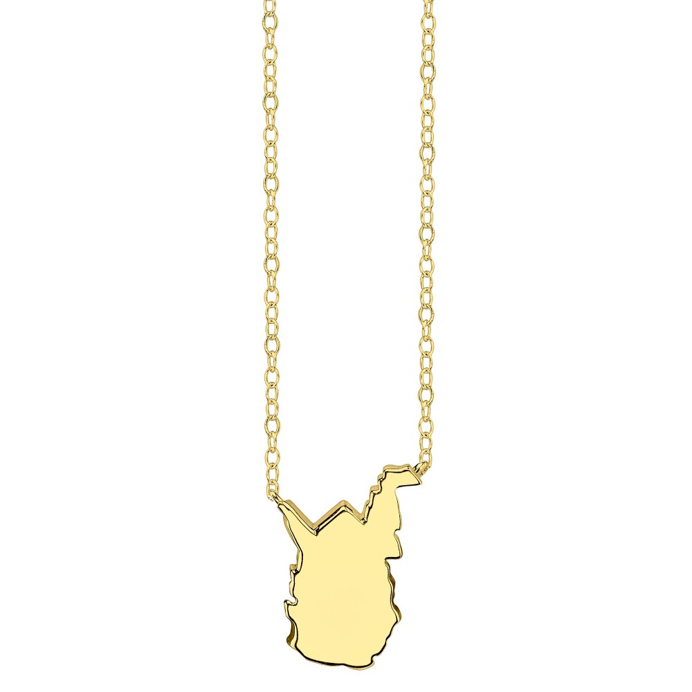 Footnotes State Pendant - Gold, Girl's, West Virginia