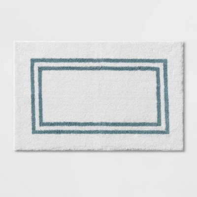 "21""x34"" Border Bath Rug Aqua Stripe - Threshold Signature™"