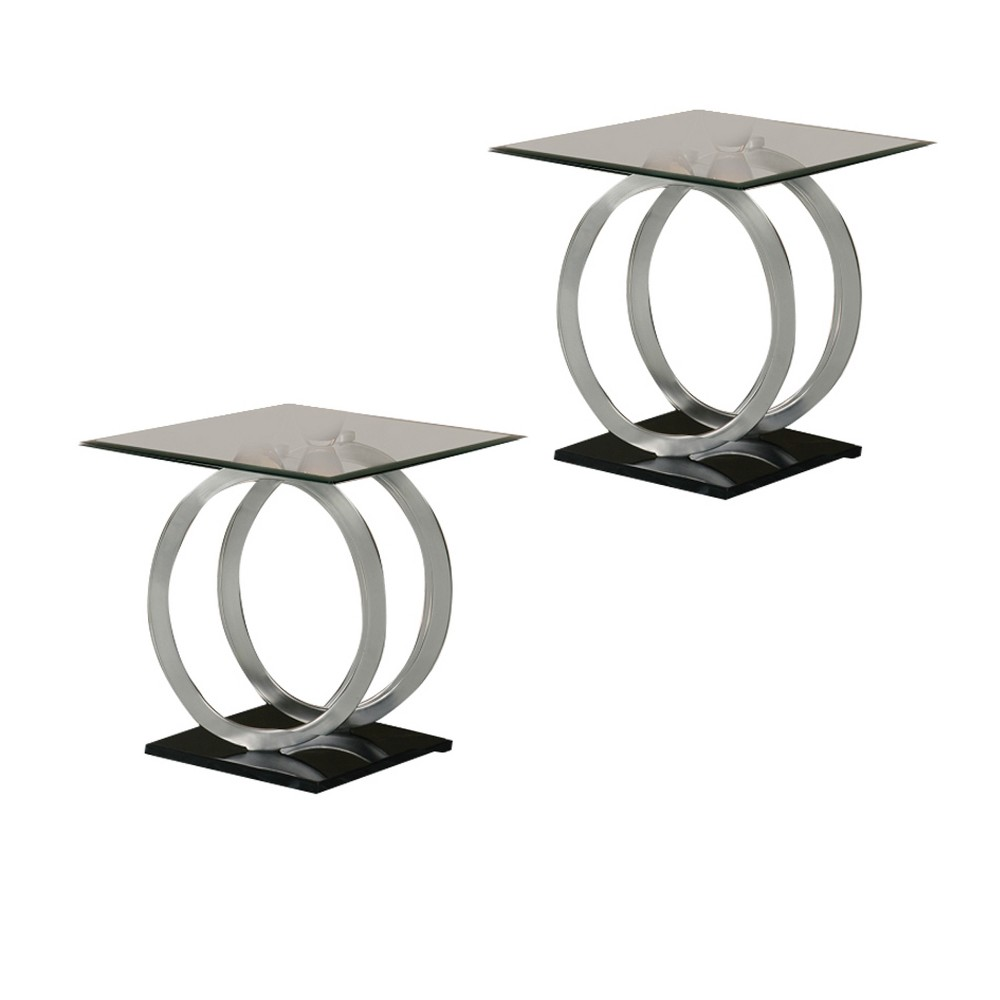 Image of End Table Black, Silver Set Of 2 - Home Source Industries