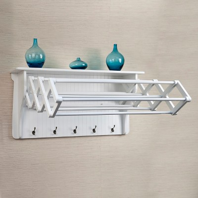 Wall Shelf with Collapsible Drying Rack and Hooks