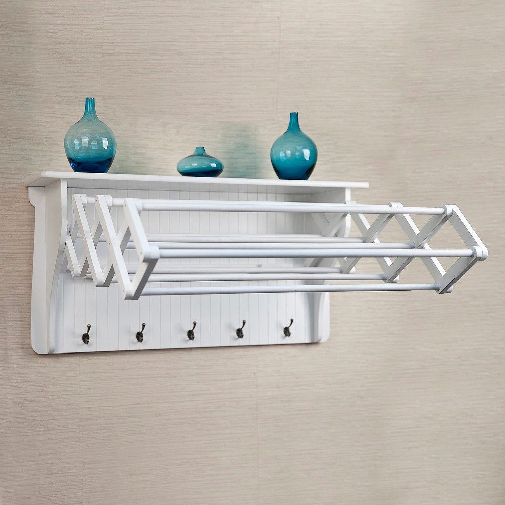 DANYA B. Wall Shelf with Collapsible Drying Rack and Hooks, White