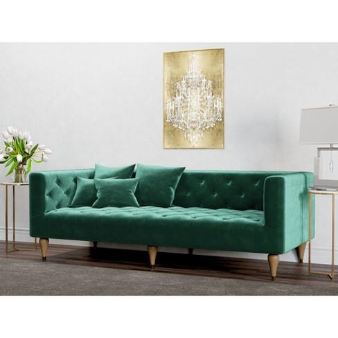 Alice Tufted Velvet Sofa Emerald Green
