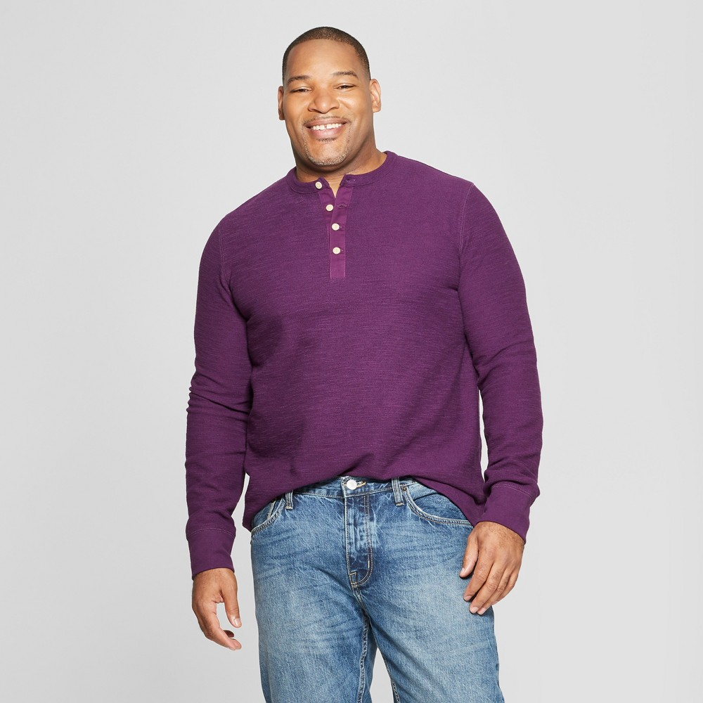 Men's Big & Tall Long Sleeve Textured Henley Shirt - Goodfellow & Co Purple Currant 2XBT