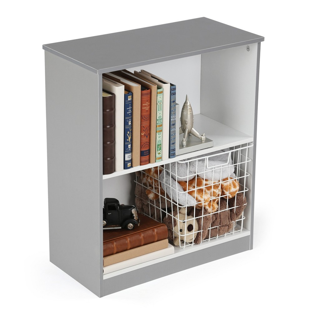 Image of 2 Shelf Bookcase - Gray /White - Curious Lion, Gray White