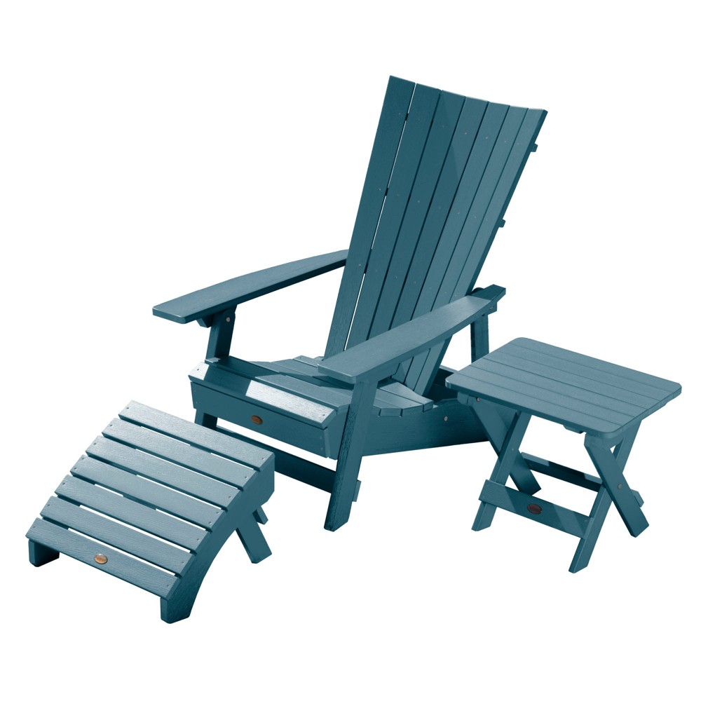 Image of Manhattan Beach Adirondack Patio Chair with Side Table & Ottoman Nantucket Blue - highwood