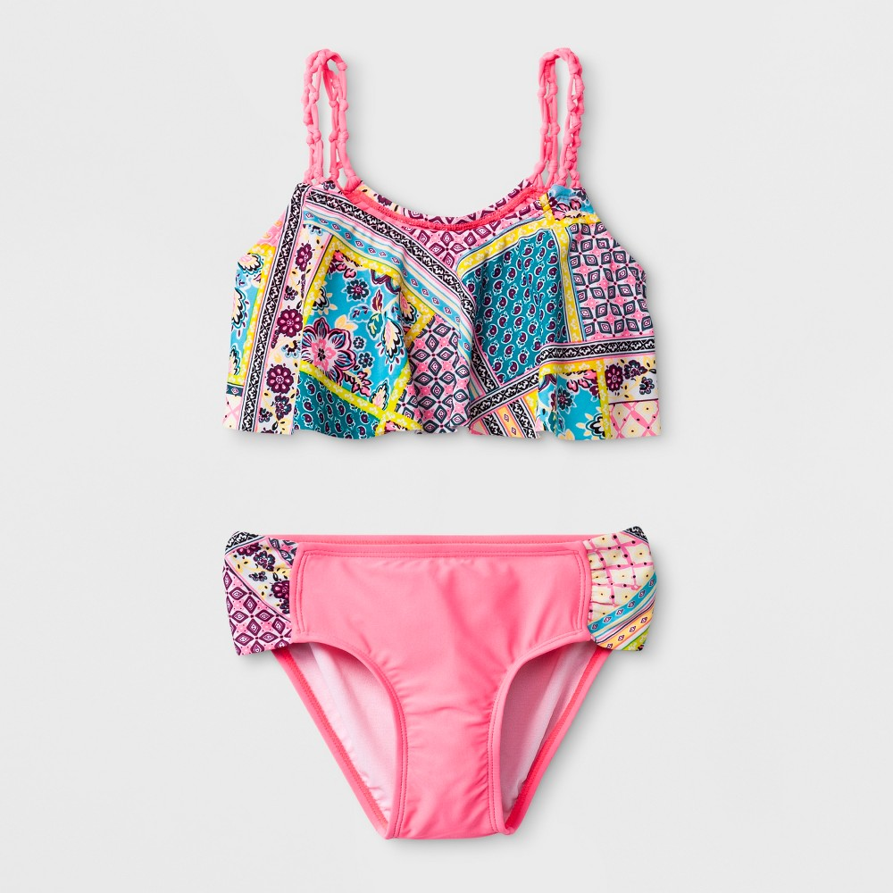 Malibu Dream Girl Girls' Whimsical Patch Bikini Set - 7, Multicolored