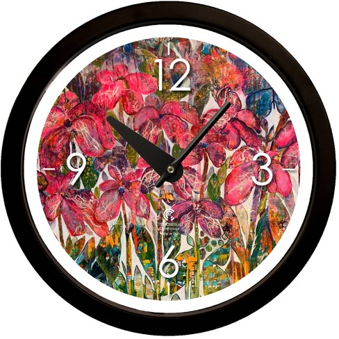 "14.5"" Artist Series Diane Rakocy Full Bloom Decorative Clock Black - The Chicago Lighthouse - image 1 of 3"