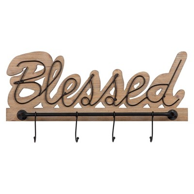 """9.5"""" Rustic Wood and Metal Blessed Wall Hooks Brown/Black - Patton Wall Décor"""