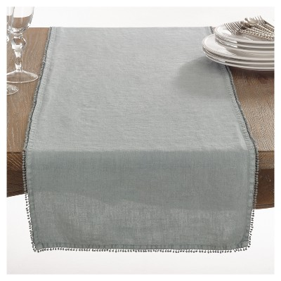Blue PomPom Design Table Runner (16 x72 )- Saro Lifestyle®