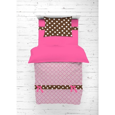 Bacati - Buttefly Pink Chocolate 4 pc Toddler Bedding Set