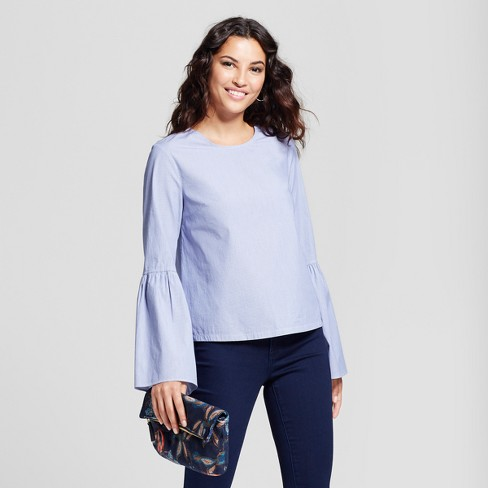 bc1e59bd4c Women's Striped Bell Sleeve Poplin Top - A New Day™ Light Blue : Target