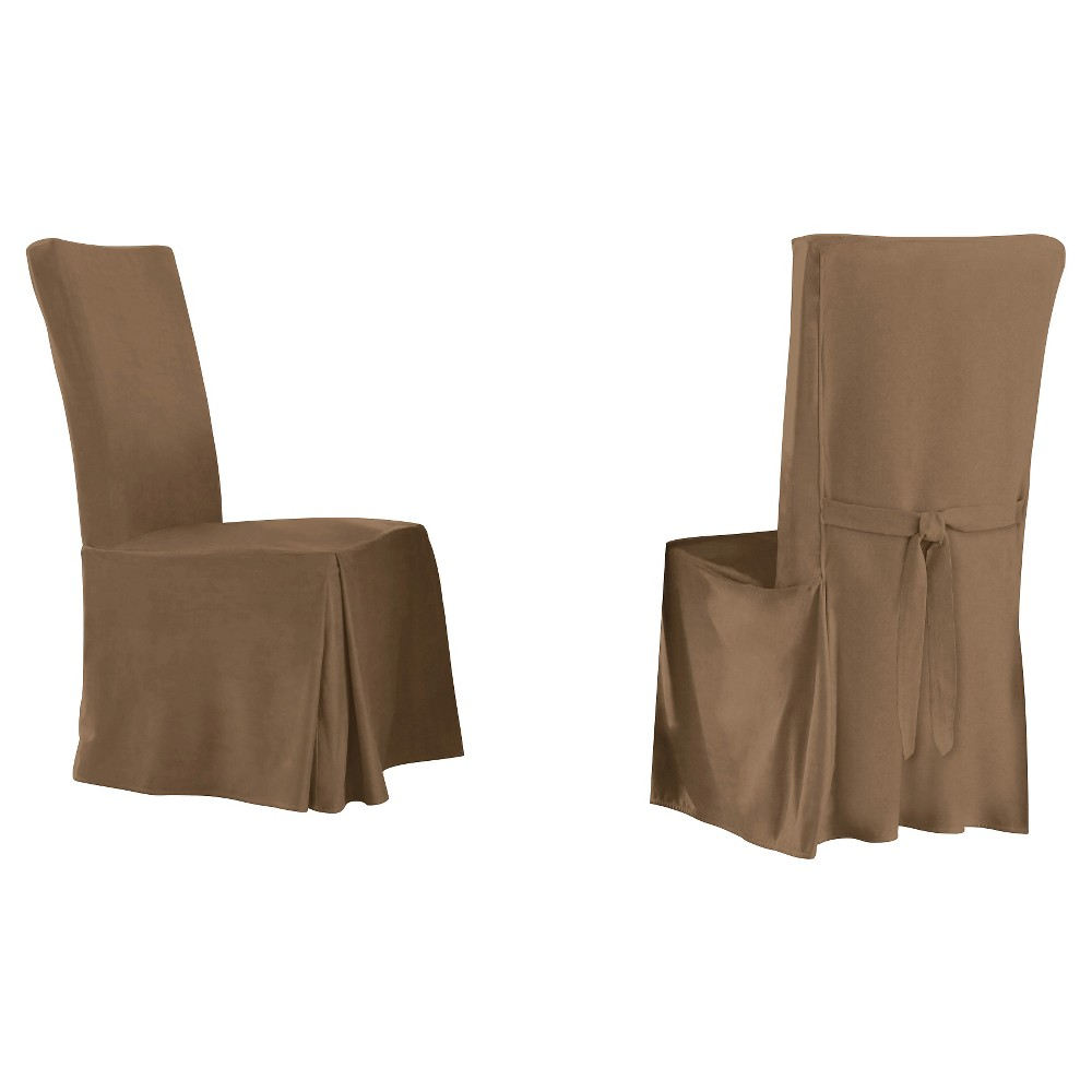 Image of 2pk Taupe Brown Relaxed Fit Smooth Suede Furniture Dining Chair Slipcover - Serta, Brown Brown