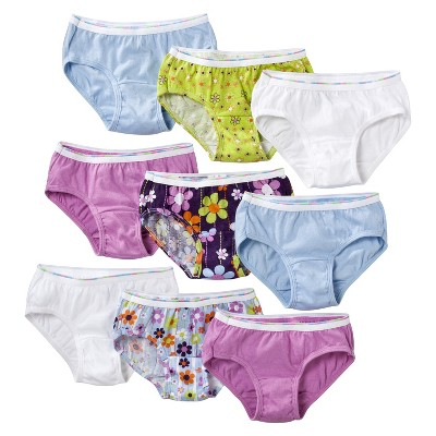 Girls' Hanes® Assorted Print 9-Pack Hipsters Underwear