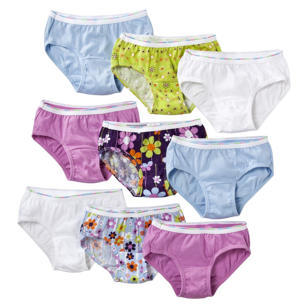 Girls' Hanes Assorted Print 9-Pack Hipsters Underwear, Size: 8