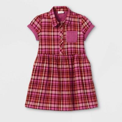 Girls' Button-Front Woven Dress - Cat & Jack™ Pink/Orange