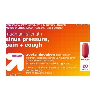 Acetaminophen Sinus Pressure, Pain & Cough Relief Caplets - 20ct - up & up™